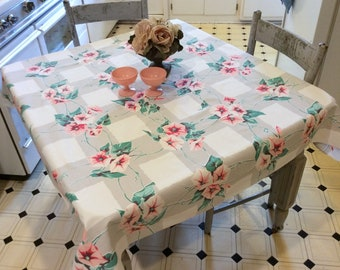 Vintage Wilendur Tablecloth Pink & Red Morning Glories on Gray Checks