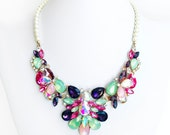 Necklace - Statement Rhinestone Bib Necklace - Ivory or White Pearls - Vintage Style - Pink, Green, Purple, Aurora Borealis Gold Necklace