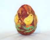 Easter Egg - Needle Felted Yellow Chicks on Wool Egg - Easter Decor - Easter Gift - Easter Felt - Needle Felting