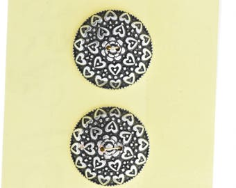 Button set of 4 , 2 hole , Plated plastic , Antique silver finish , sold 4 each OB9503AS