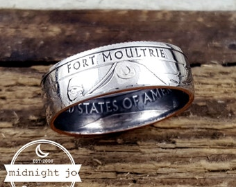 Fort Moultrie Coin Ring National Park Coin Ring Quarter Double Sided Coin Ring Ft Sumter