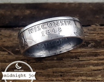 Wisconsin Coin Ring - 90% Silver State Quarter Rings - State Coin Rings - Silver Coin Ring - Wisconsin Ring - Wisconsin Jewelry - Handmade