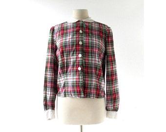 Vintage 1940s Blouse | Plaid Shirt | 40s Blouse | Large L
