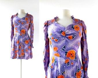 70s Mini Dress | Poppy Dress | 1970s Dress | XS S
