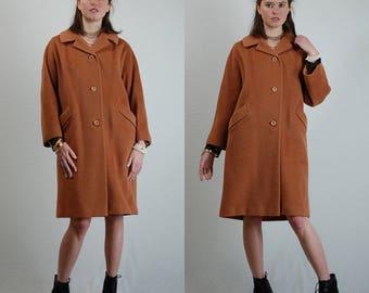 DUMAS Swing Coat Vintage 60s Tan DUMAS of California Draped Wool Swing Coat (s m l)