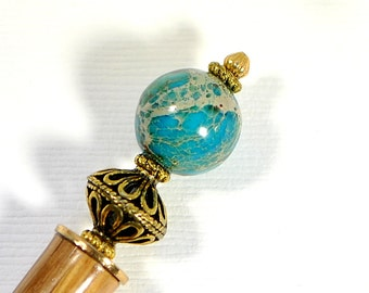 """Reserved - Hairstick Blue Earth Single Hair Stick Blue Hair Chopstick Single Hairstick Handmade Hair Accessories Hair Beads - """"Desire"""""""