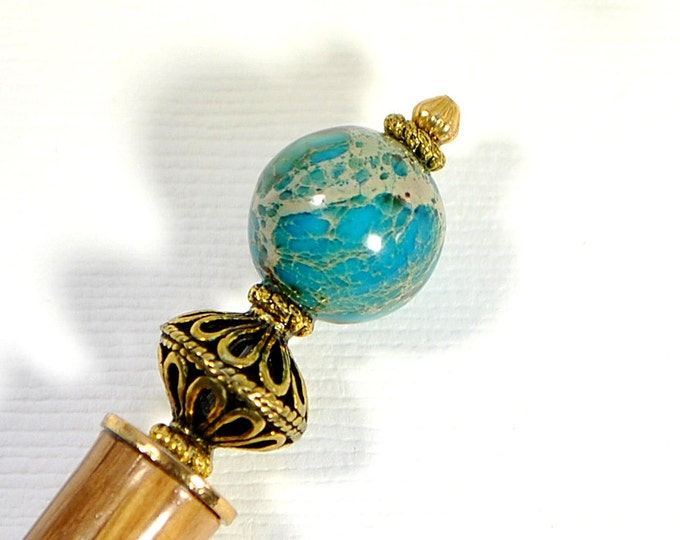 "Reserved - Hairstick Blue Earth Single Hair Stick Blue Hair Chopstick Single Hairstick Handmade Hair Accessories Hair Beads - ""Desire"""
