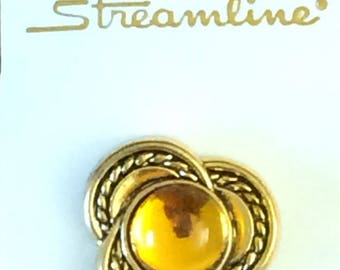 "1 Vintage Button, 1 1/8"" wide (28mm), Citrene, Imported (Some additional buttons available) Streamline Yellow Gold"