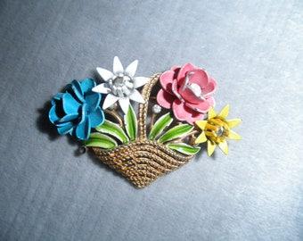 Vintage Trifari Basket of Multi Colored Enameled Metal Flowers Brooch