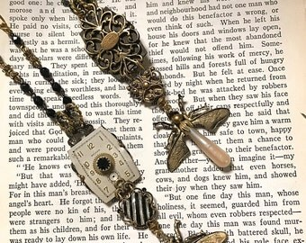 Steampunk Long Pendant Necklace, Firefly Pendant  on Rosary Chain, Insect Jewelry, Available Long or Short Necklace
