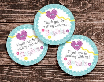 Personalized Craft or Sewing Party Favor Tags or Stickers – 2, 2.5 or 3 Inch Circle – DIY Printable (Digital File)