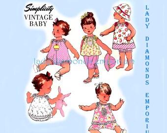 Simplicity 1813 Vintage Baby Sewing Pattern Romper Dress Top Pants Panties Hat Bonnet size Newborn to 24 lb XXS XS S M L Bran New Uncut