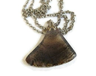 Moss Agate Drop Pendant Necklace Vintage Black & Gray