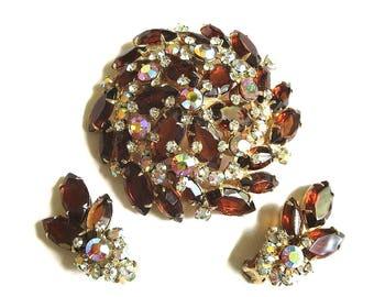 Juliana Amber Topaz Rhinestone Brooch and Earrings Set Vintage Aurora Borealis Verified D&E