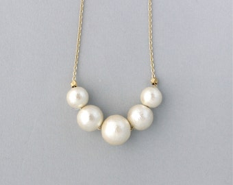 Cotton Pearl necklace  -  Otsubu Long