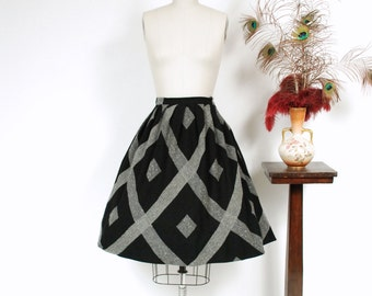 Vintage 1950s Skirt - Gorgeous Black and Grey Wool Full Pleated Skirt with Tweed Speckle