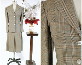1940s Vintage Suit - Impeccably Tailored Prince of Wales Glen Plaid 40s Skirt Suit with Pleated Skirt Made of Mens' Suiting