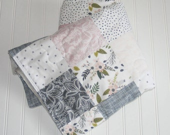 baby quilt- baby girl quilt- floral baby quilt-minky baby quilt- pink baby quilt- sprigs baby quilt- pink and gray quilt- baby girl bedding
