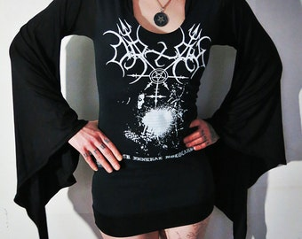 Orlok Black Funeral Holocaust Hooded Drape Mini Dress