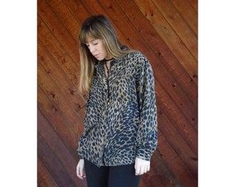 Leopard Print SILK l/s Button Blouse - Vintage 90s - M/L