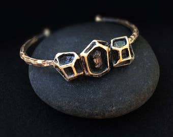 Bronze Geometric Gem Cuff, Handmade by Jamie Spinello in Austin, Tx