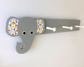 Elephant Coat Rack, Geometric, Elephant Nursery Decor, Elephant Kids Decor, Elephant Hooks, Elephant Clothing Hanger, Elephant Nursery,