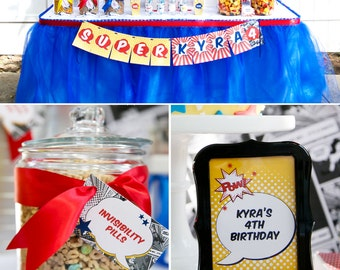 Super Comic Book Hero Birthday PRINTABLE Party Collection - You Customize EDITABLE TEXT >> Instant Download | Paper and Cake
