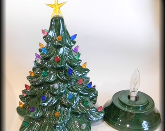 """Ceramic Lighted Old Fashioned Christmas Tree 16"""" tall   - Tradional Tabletop Holiday X mas tree  Ready to ship"""