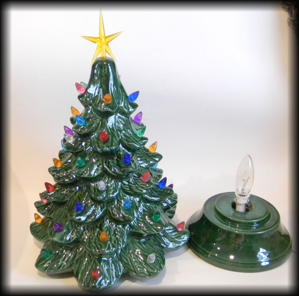 Ceramic Lighted Old Fashioned Christmas Tree 16 Tall