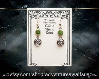 Celtic Shield Knot earrings with green ceramic bead - silver metal dangle charm luck protection pagan wiccan wicca green spiritual Irish