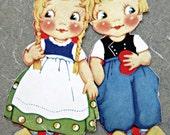 Vintage Paper Dolls, Dutch Children Dolls, Fritz and Freda Paper Dolls, Like Dolly Dingle, Kid Paper Dolls, Cute Kawaii Zakka Paper Dolls