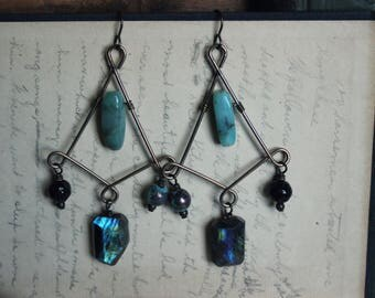 Riversong. Rustic, Vintage, Bohemian, Artisan, Labradorite, Amazonite and Glass Gemstone Beaded Chandelier Earrings