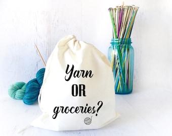 Yarn or Groceries Drawstring Bag - Project Bag for Knitting- Crochet Bag- Yarn Storage- Gifts for Knitters- Shawl Knitting- Sock Knitting