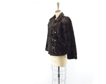 Faux Fur Jacket Vintage Black Jacket Cropped Black Jacket 80s Chubby Jacket Cropped Faux Fur Black Winter Jacket Black Fur Jacket s / m