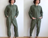 Vintage Green Army Coveralls/ Distressed Fitted Coveralls/ Green Cotton Sateen Military Suit/ Medium