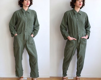 Vintage Green Army Coveralls/ Distressed Fitted Coveralls/ Green Cotton Sateen Military Suit/ Small
