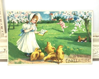 Vintage Easter Postcard, Vintage Postcard, Easter Card, Easter Ephemera, Easter Greetings, A Little Girl Teaching Chicks, Cherry Blossoms