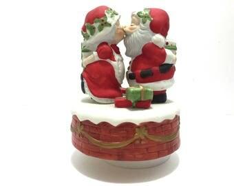 "Vintage Christmas Music Box by Jasco No. 885, Santa and Mrs. Claus Music Box, Porcelain Santa Kissing ""I saw Mamma Kissin' Santa Claus"" 1982"