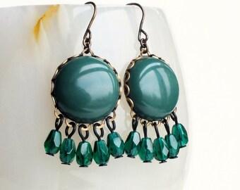 Forest Green Chandelier Dangle Earrings Emerald Green Glass Dangles Vintage Cabochons Dark Green Earrings