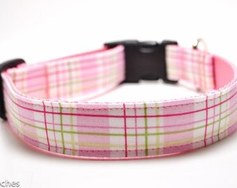 Pink Plaid Dog Collar / Martingale or Buckle / Girl Dog Collar