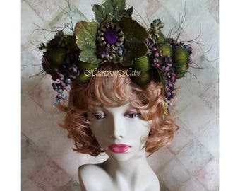 Head wreath tiara crown Luscious unique moss green berries purple Fairy Queen woodland twigs flowers