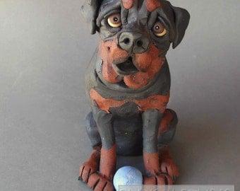 Rottweiler Dog with Ball Ceramic Sculpture Statue