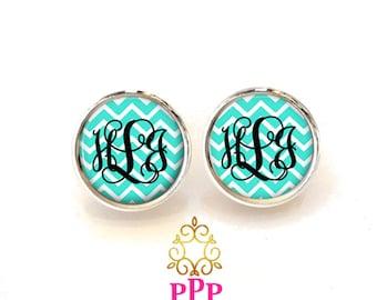 Aqua Monogram Earrings, Pendant Earrings, Stud Earrings, Dangle Earrings, Personalized Studs, Personalized Jewelry, Monogram Studs 384