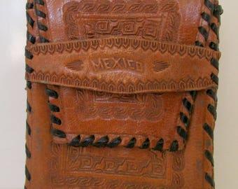 Vintage Leather Cigarette Case Mexico Carved Cigarette Case Tooled Leather Case