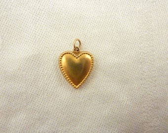 Vintage 14K Gold Puffy Heart Charm with Beaded Border