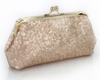 Blush Champagne Sequins Tulle Clutch | Bridesmaids | Mother's Clutch (Ready to ship)