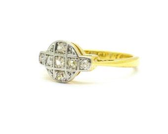 Antique Art Deco Diamond engagement ring Authentic Vintage English 1920's-1930's 18ct Platinum millgrain plaque Dinner ring *Free Shipping*