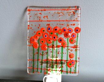 Field of Poppies Wildflowers Fused Glass Nightlight