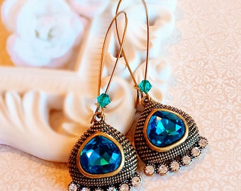 Statement Earrings - Teal - Egyptian Earrings - Gift -  CLEOPATRA Teal