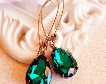 Victorian Earrings - Emerald - Best Gift for Her - Black Tie Jewelry - SOMERSET Emerald